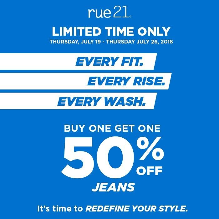 BOGO 50% Jeans from rue21