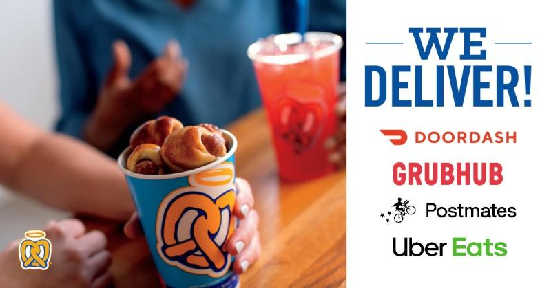 Auntie Anne's now partners with third-party delivery services! from Auntie Anne's