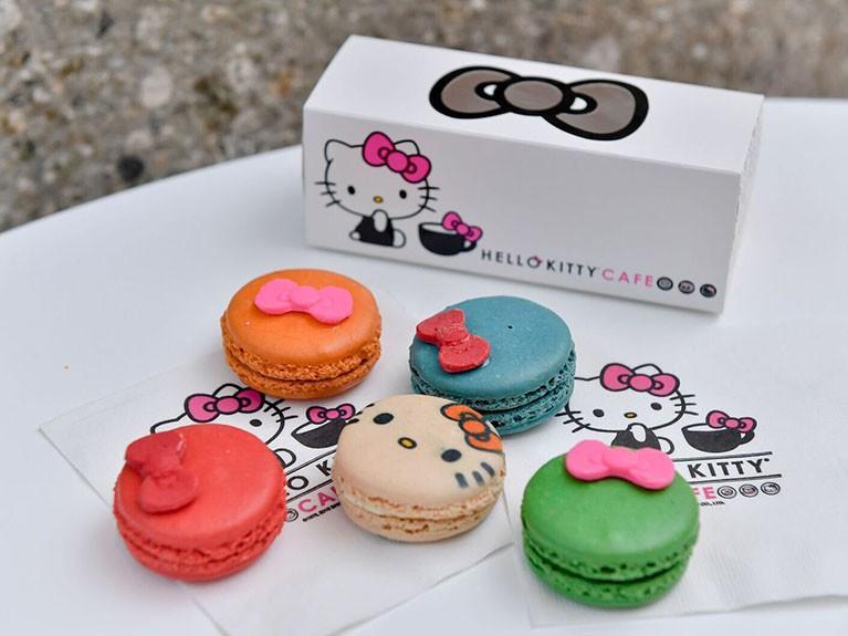 Hello Kitty-themed macaroons