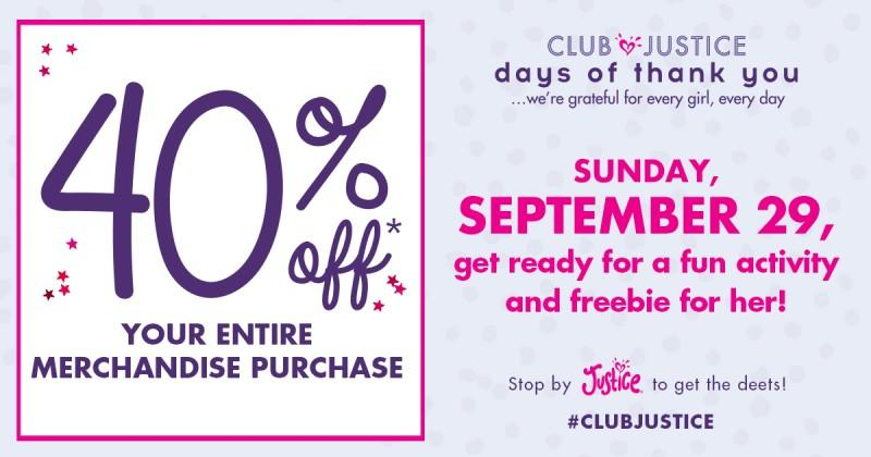 Club Justice days of thank you from Justice