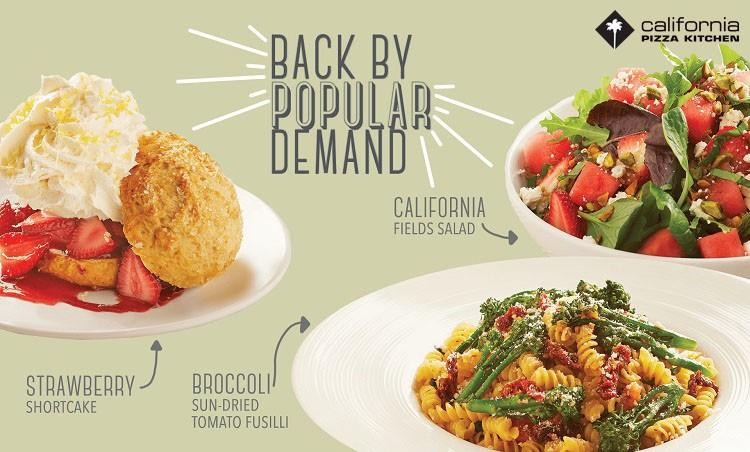 Back by popular demand! from California Pizza Kitchen