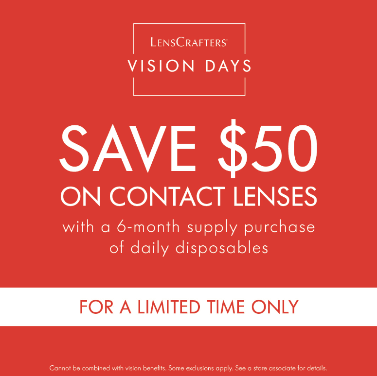 $50 off Contact Lenses from LensCrafters