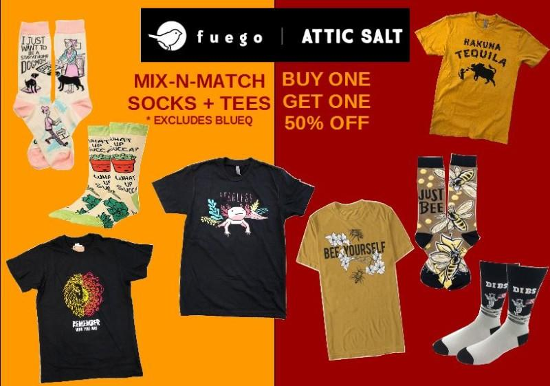 Attic Salt BOGO Tees and Socks from Attic Salt