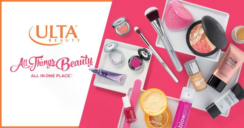 ulta beauty image with various make up products and text that says all things beauty all in one place