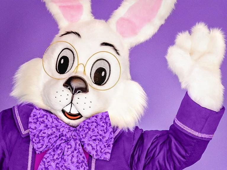 Easter Bunny with Camera on Purple Background