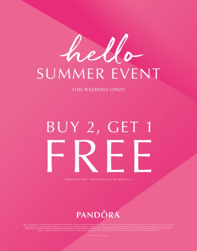 Memorial Weekend Promotion from PANDORA