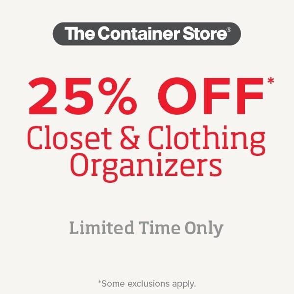 Save 25% off closet completion products from The Container Store