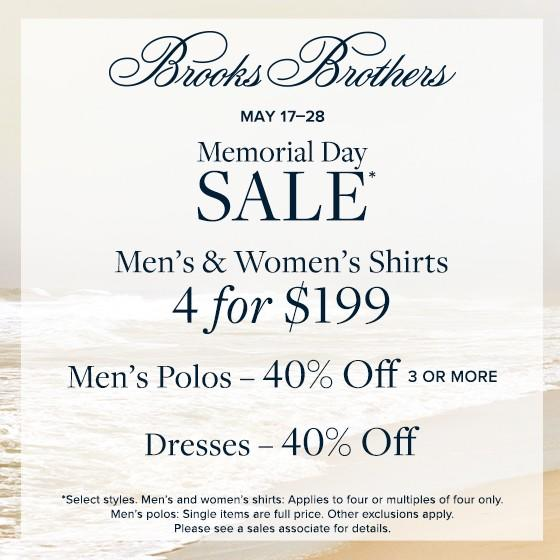 Memorial Day Sale from Brooks Brothers