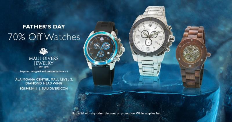 Save 70% on All Watches for Dad from Maui Divers Jewelry