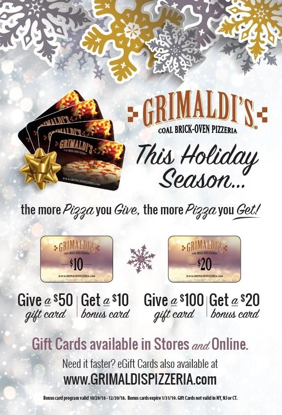 Special offer from Grimaldi's Coal Brick Oven Pizzeria