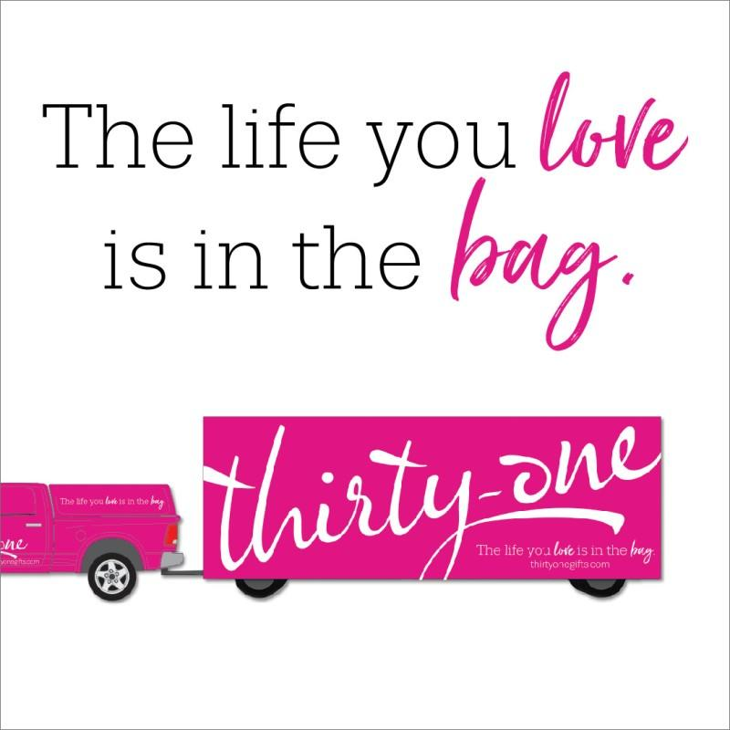 a drawing of a pink truck with the words thirty-one written on it.