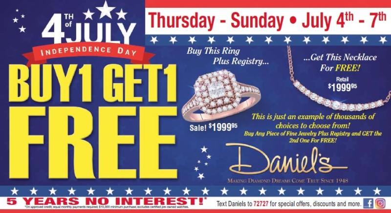 4th of July BOGO from Daniel's Jewelers