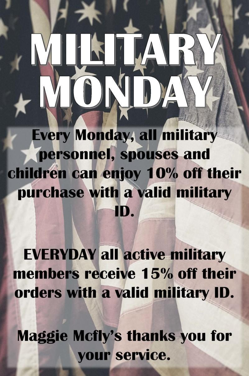 promotional flier for Military Monday at Maggie McFlys