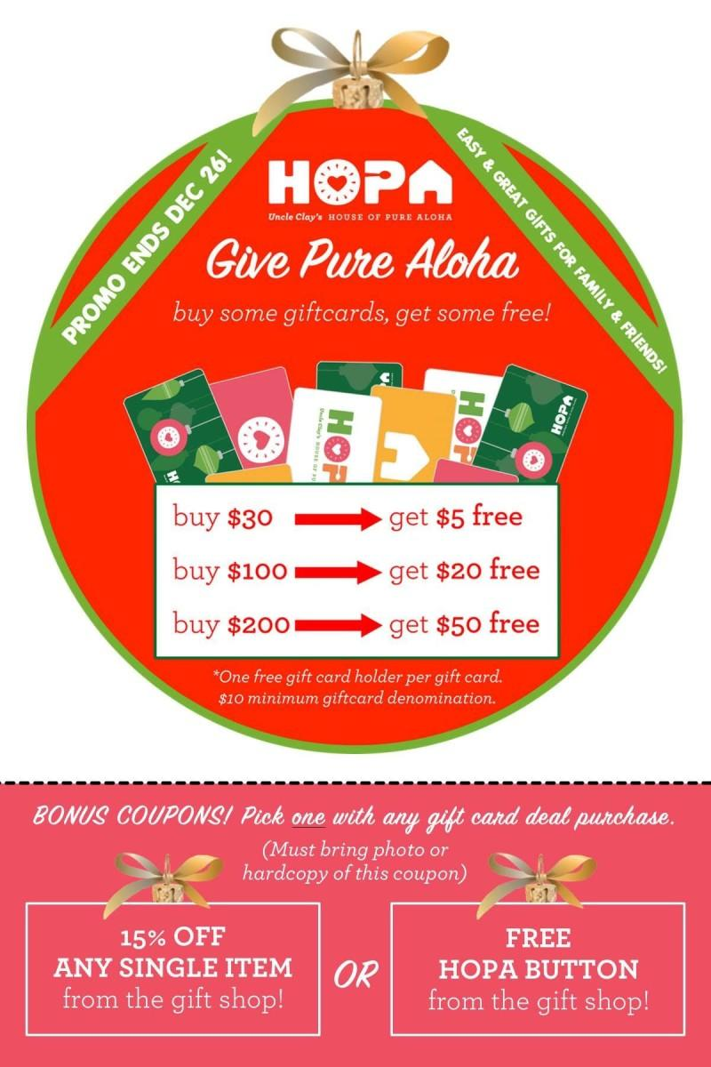 Buy Some Gift Cards, Get Some Free! from Uncle Clay's House Of Pure Aloha