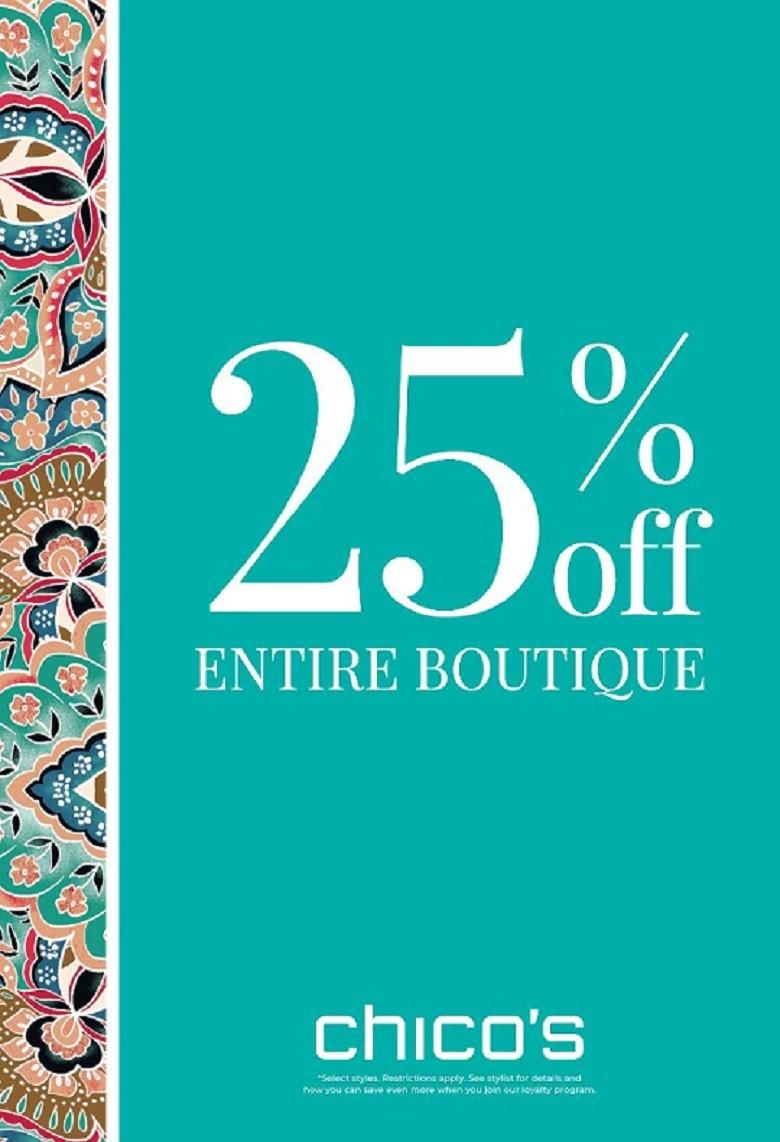 25% off Entire Store! from chico's