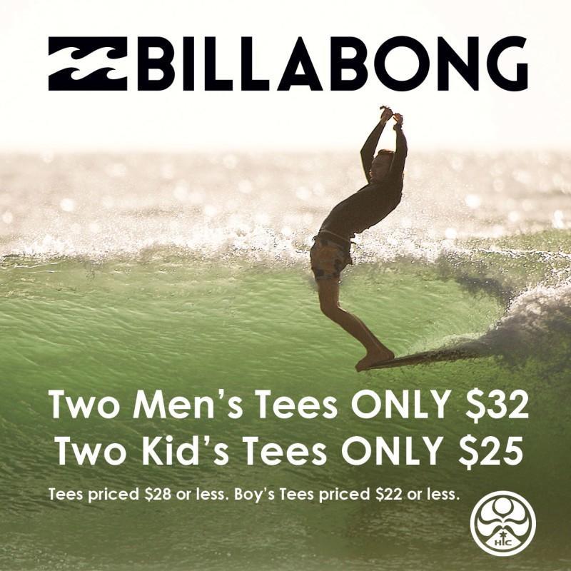 Save on Billabong Tees for Men and Boys from Hawaiian Island Creations
