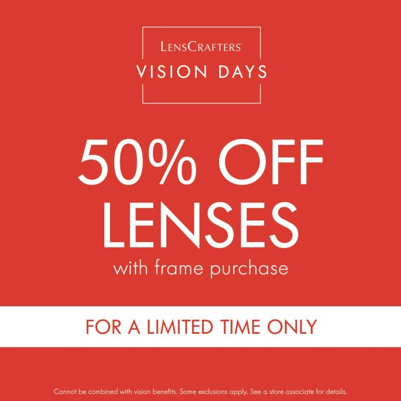 50% off Lenses from LensCrafters