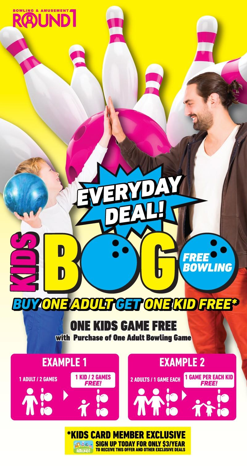 Kids BOGO (Free Bowling) from Round 1 Bowling & Amusement