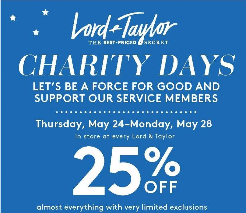 Charity Days with 25%Off Almost Everything! from Lord & Taylor
