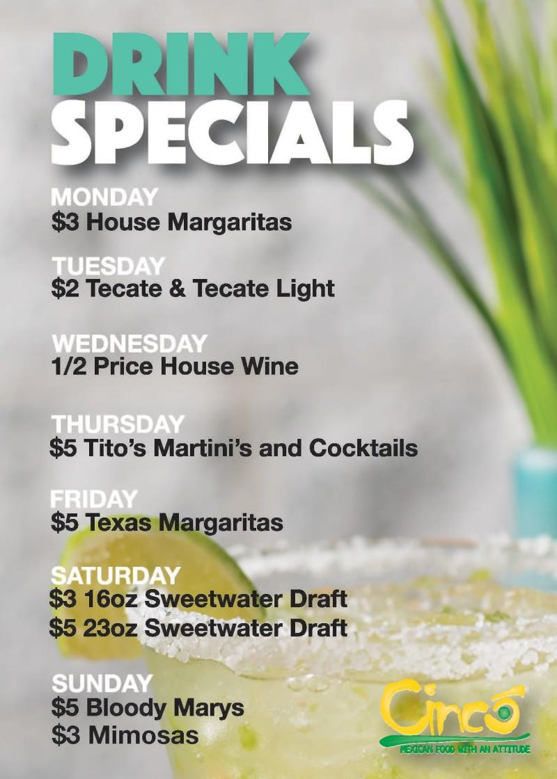 Drink Specials from Cinco Mexican Cantina