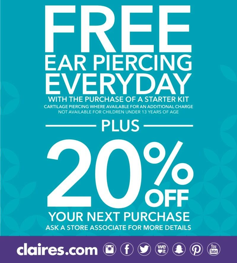 20% off with a free ear piercing from Claire's