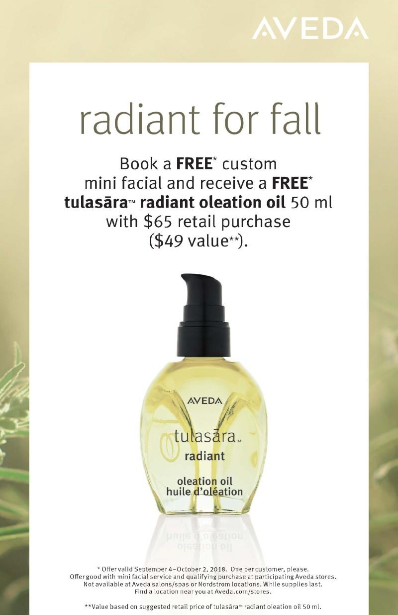 FREE* tulasara radiant oleation oil from Aveda