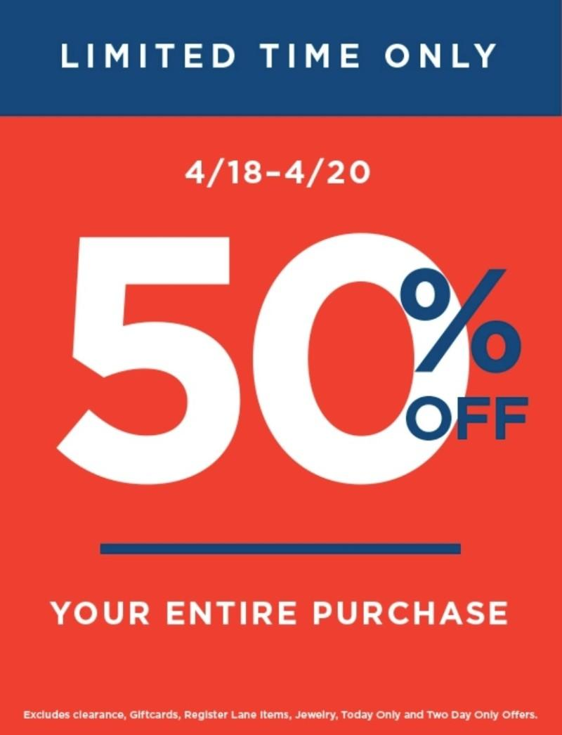 50% off your purchase **** from Old Navy