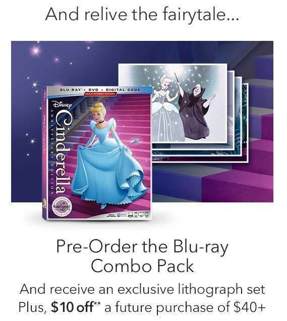 Pre-order Cinderella Blu-Ray from Disney Store
