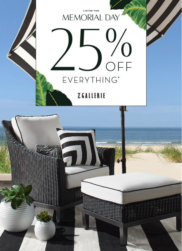 Memorial Day Sale- 25% OFF Everything from Z Gallerie