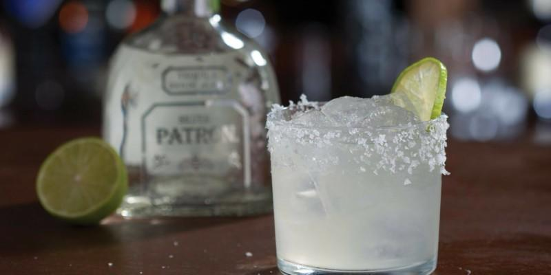 Patron bottle with a drink