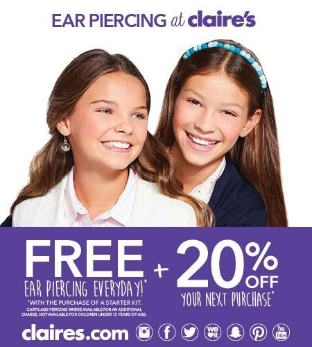 Free Ear Piercing  Everyday from Claire's
