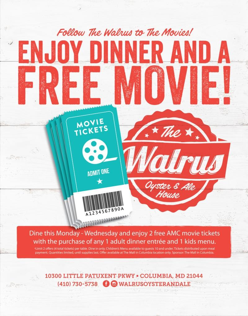 Free Movie Passes with Meal at The Walrus Oyster & Ale House