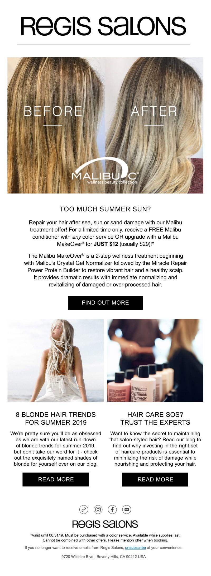 Malibu Treatment from Regis Salon