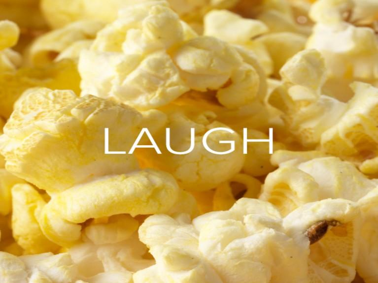 Image of yoga mat that says Stretch over it. Image of popcorn that says Laugh over it. Image of pasta that says Taste over it.