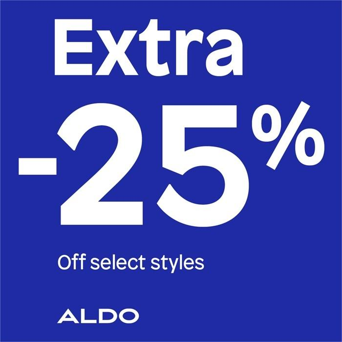 Extra 25% off Ladies' sandals and handbags styles* from ALDO Shoes