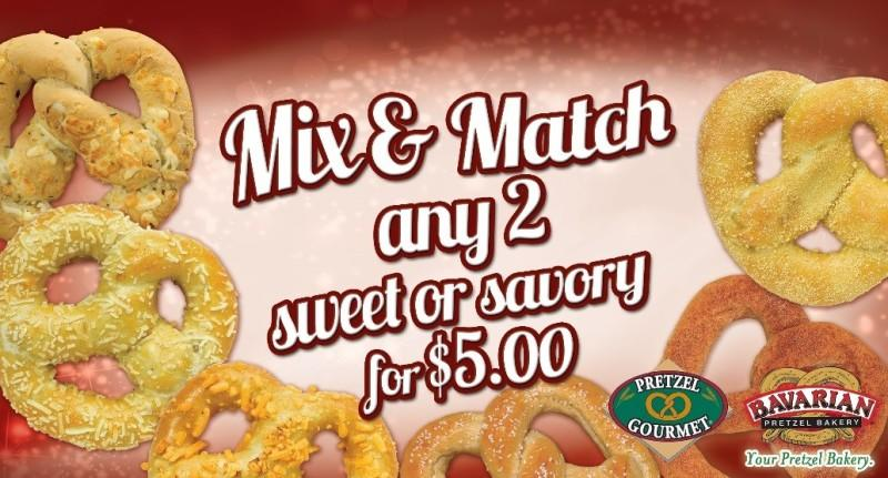 Mix and Match for only $5.00! from Bavarian Soft Pretzels