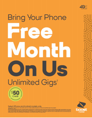 Bring Your Phone Free Month On Us from Boost Mobile