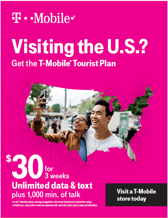 $30 Tourist Plan from T-Mobile