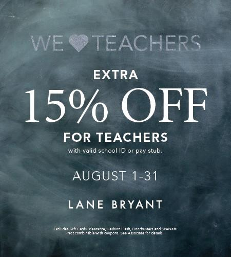15% off for Teachers at Lane Bryant! from Lane Bryant