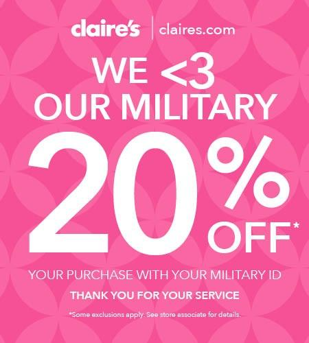 20% off Military Discount from Claire's