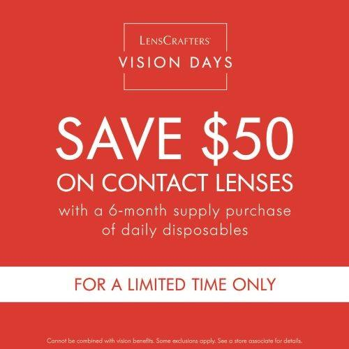 Save $50 off Contact Lenses from LensCrafters