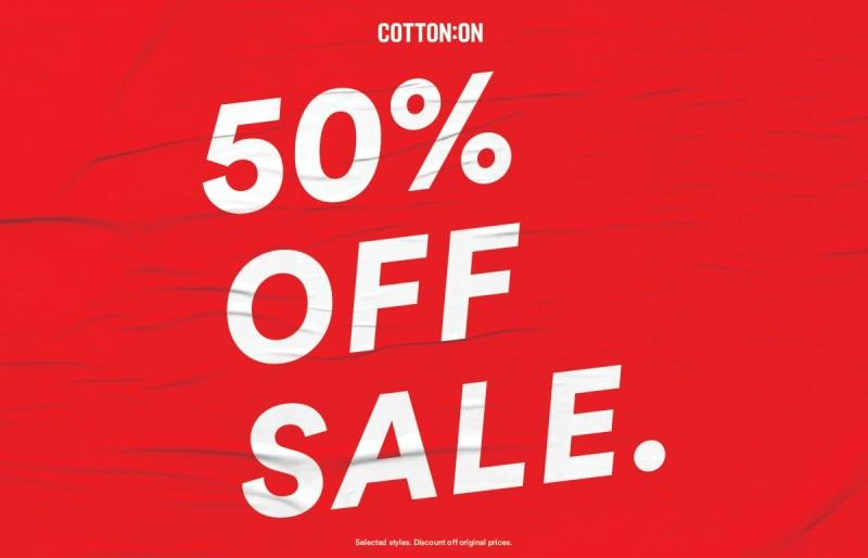 50% off hundreds of styles in store now from Cotton On