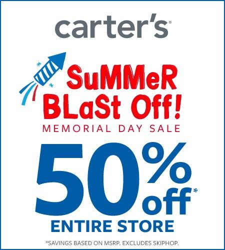 Memorial Day Sale 50% off from Carter's Oshkosh