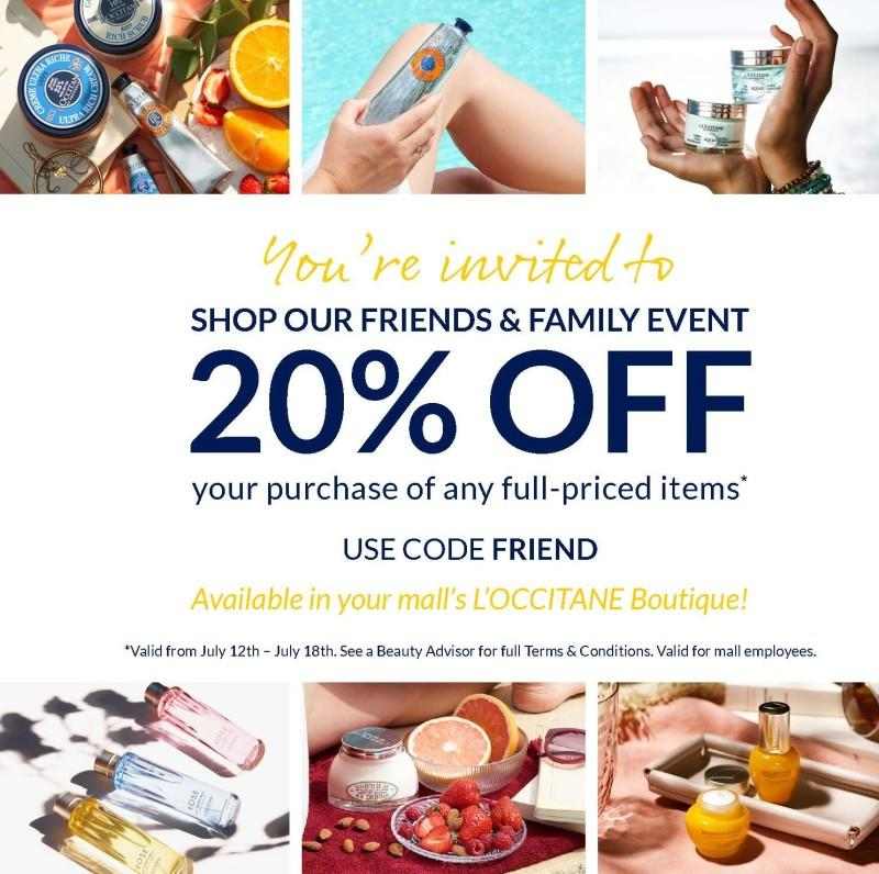Friends & Family Event from L'Occitane