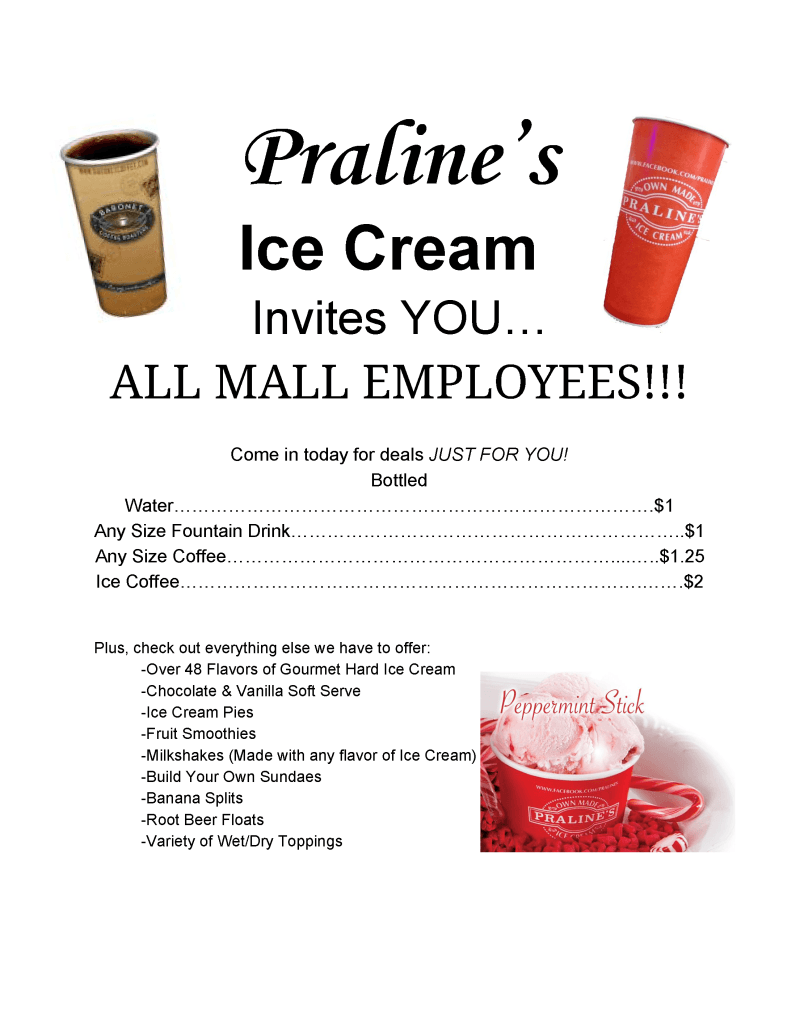 Mall Employee Discount from Praline's