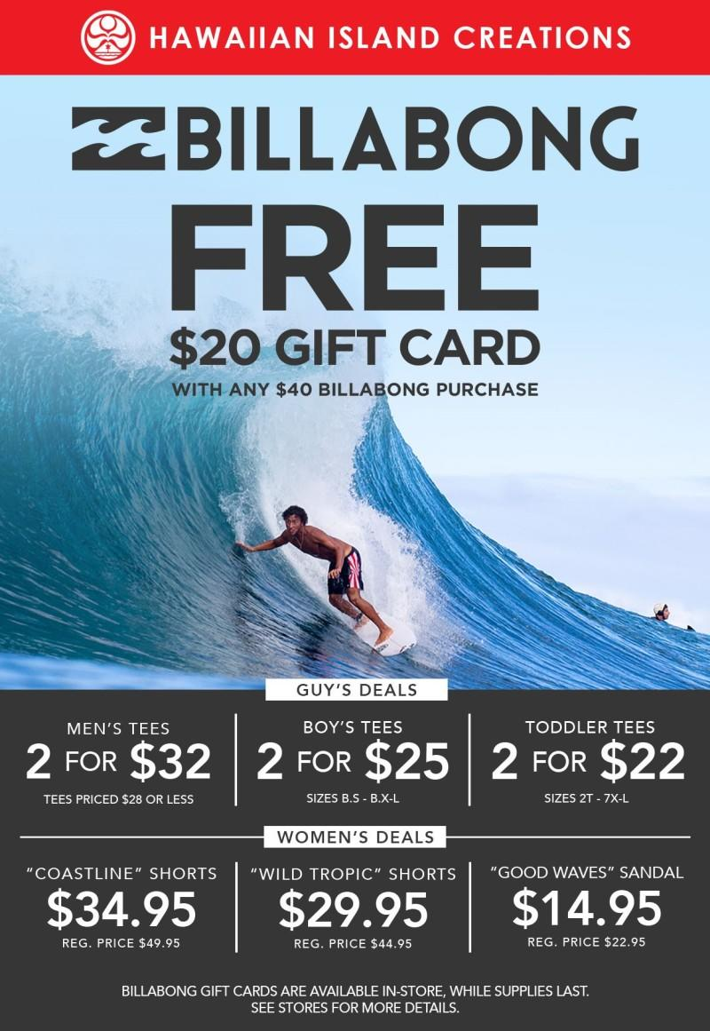 Free $20 Billabong Gift Card With $40 Purchase from Hawaiian Island Creations