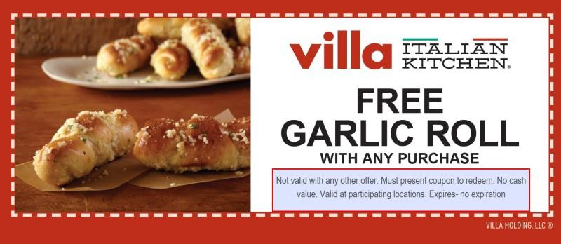 Free Garlic Roll from Villa Pizza