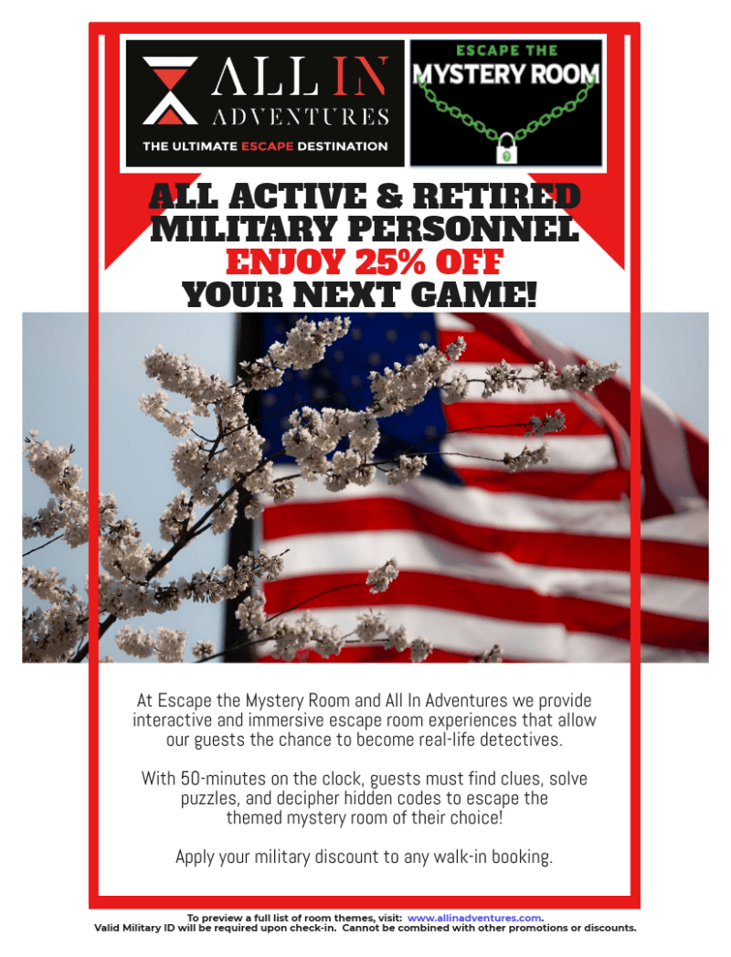 25% Military Discount from All In Adventures