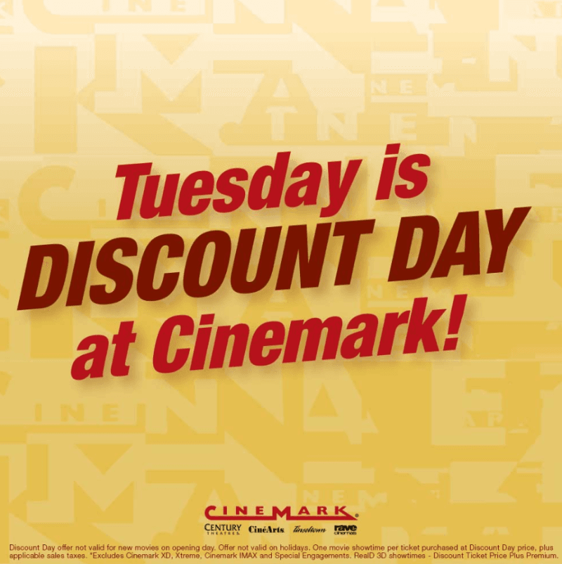 New lower price $5 Discount Tuesdays from Cinemark