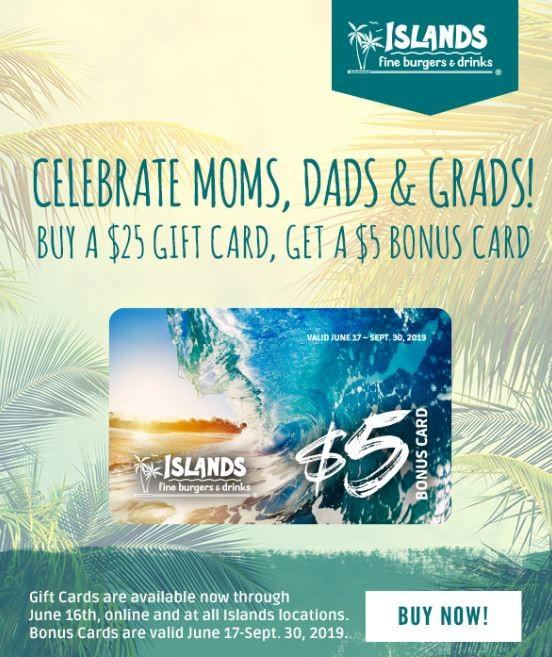 Spring Gift Card Promotion from Islands Fine Burgers & Drinks